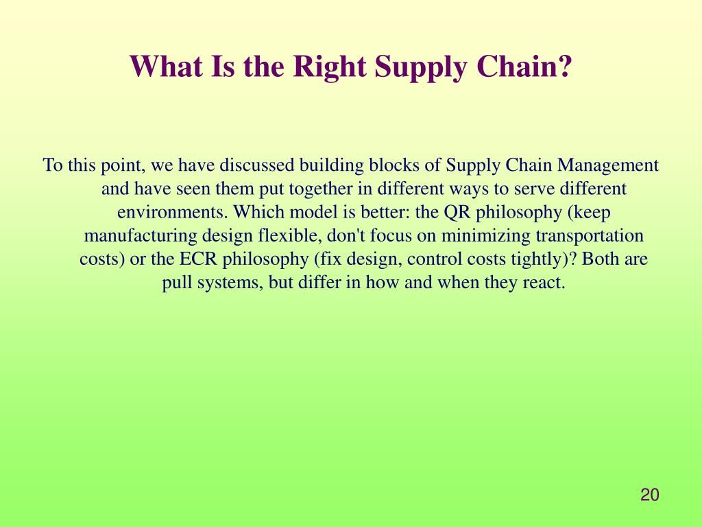 What Is the Right Supply Chain?