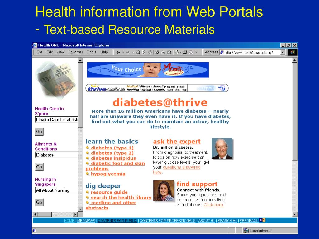 Health information from Web Portals