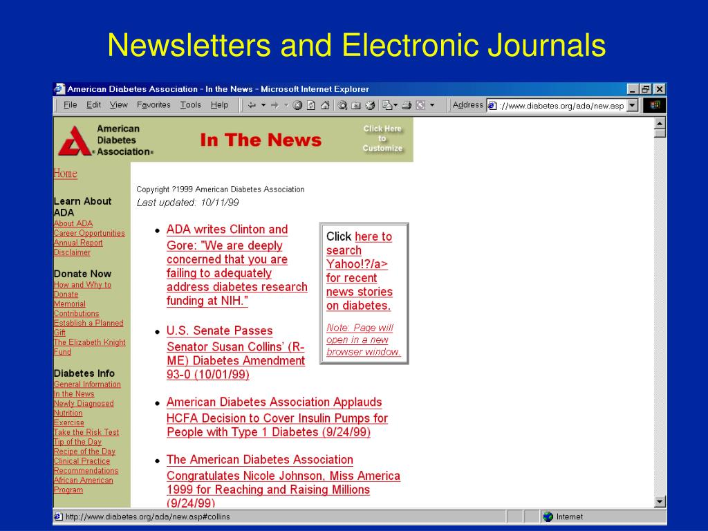 Newsletters and Electronic Journals