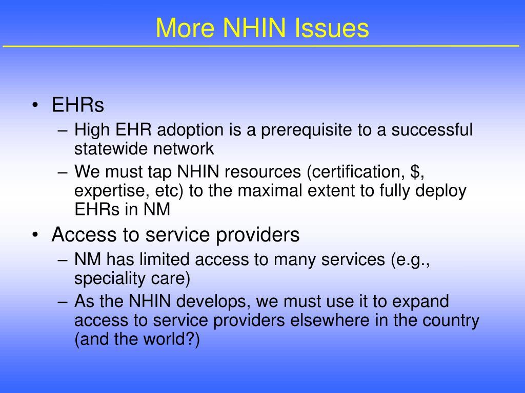 More NHIN Issues