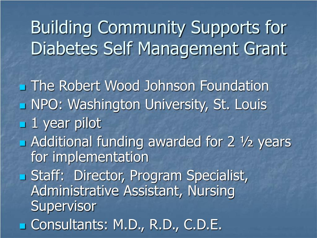 Building Community Supports for Diabetes Self Management Grant