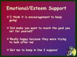 emotional esteem support