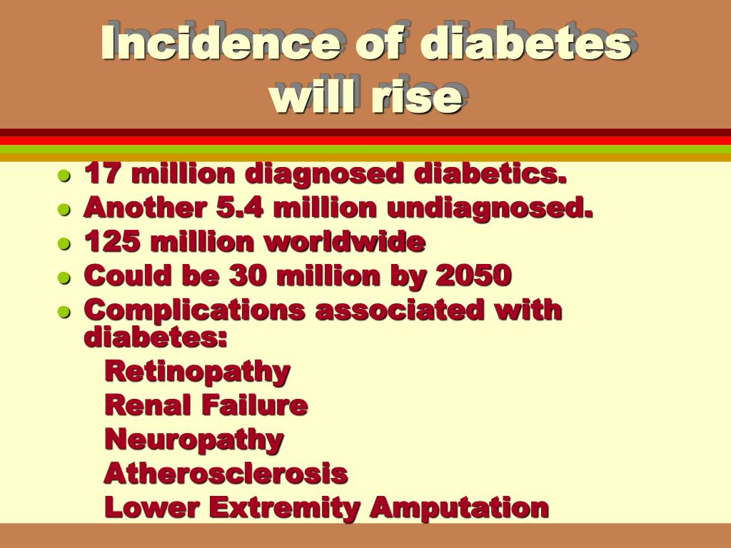 Incidence of diabetes will rise