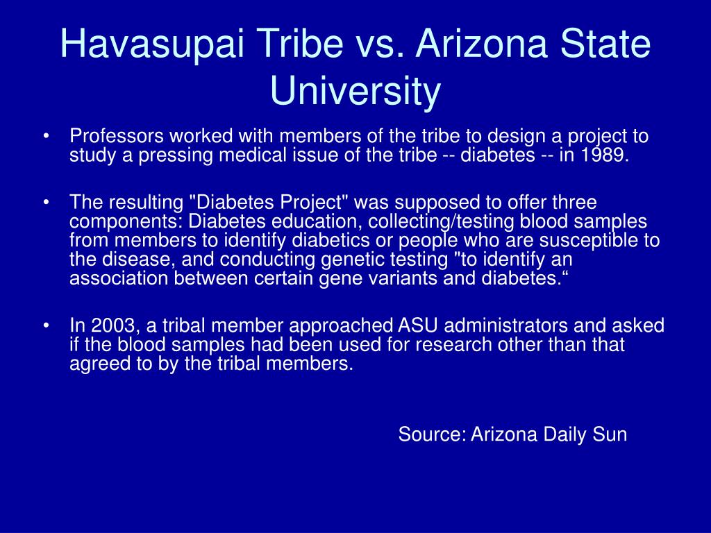 Havasupai Tribe vs. Arizona State University