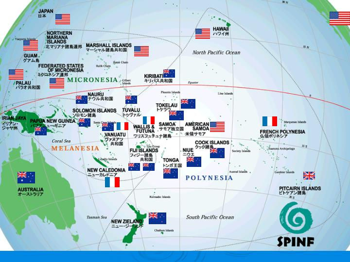 1. Map of Pacific with flag of US, France, British, NZ, Au.