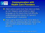 communication with health care providers