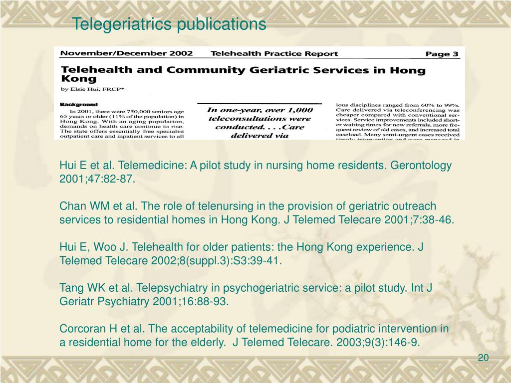 Telegeriatrics publications