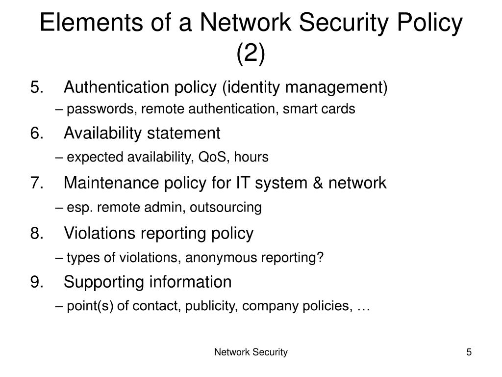 Elements of a Network Security Policy (2)
