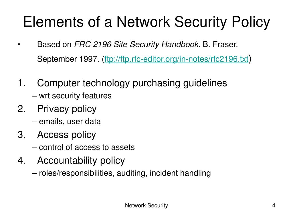 Elements of a Network Security Policy
