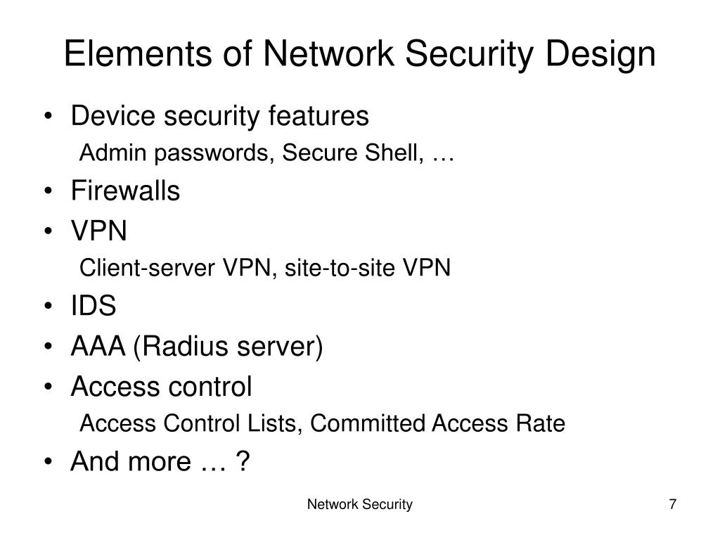 Elements of Network Security Design