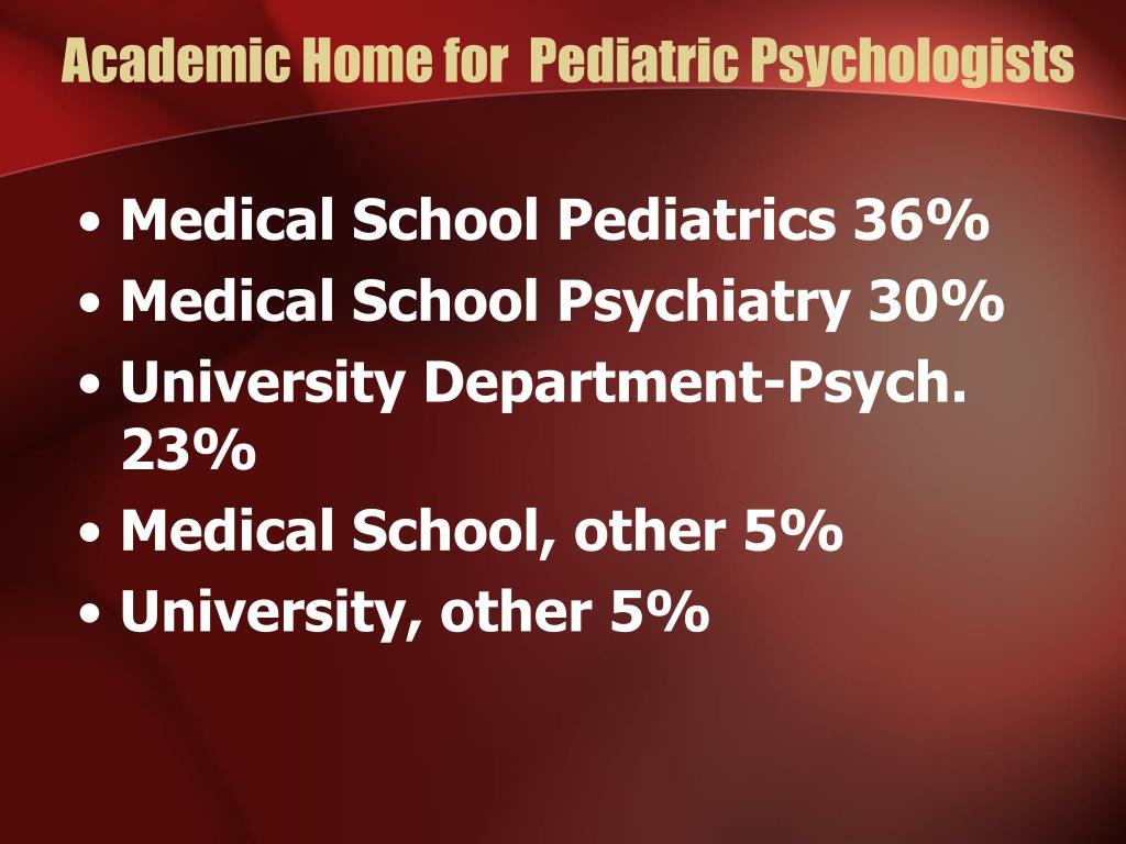 Academic Home for  Pediatric Psychologists