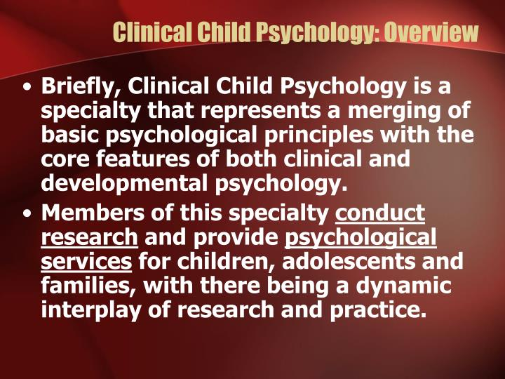 Clinical child psychology overview