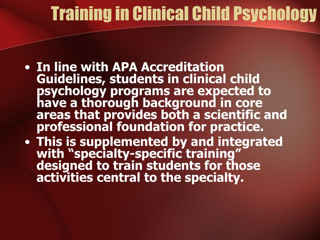 Training in Clinical Child Psychology