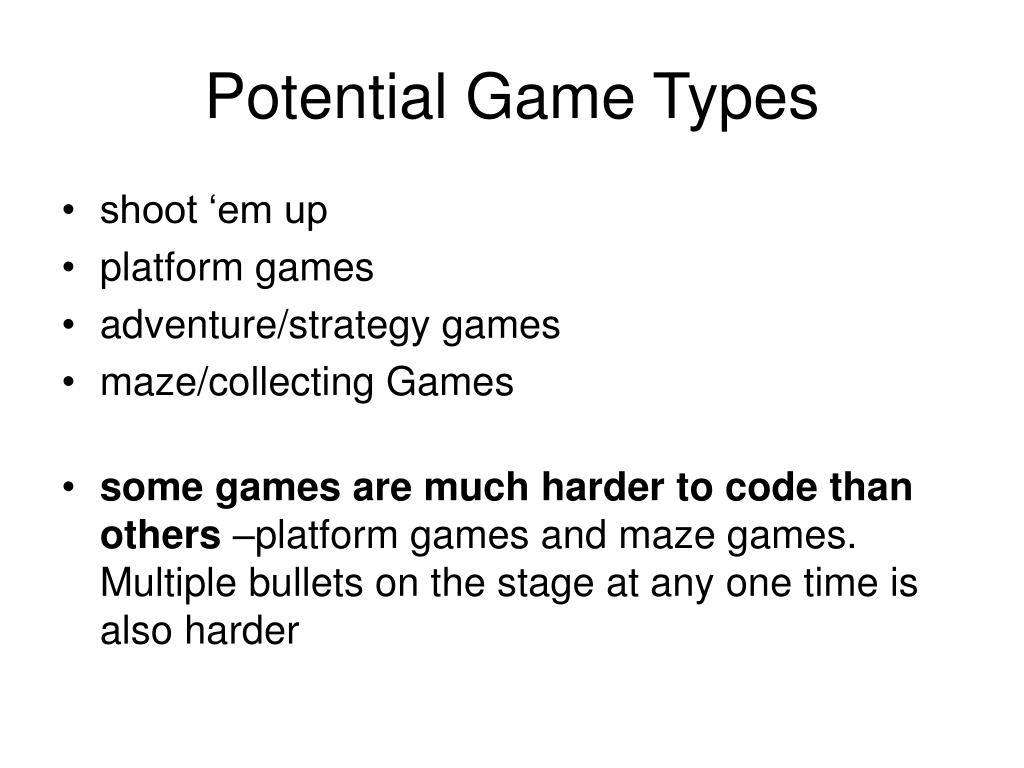 Potential Game Types