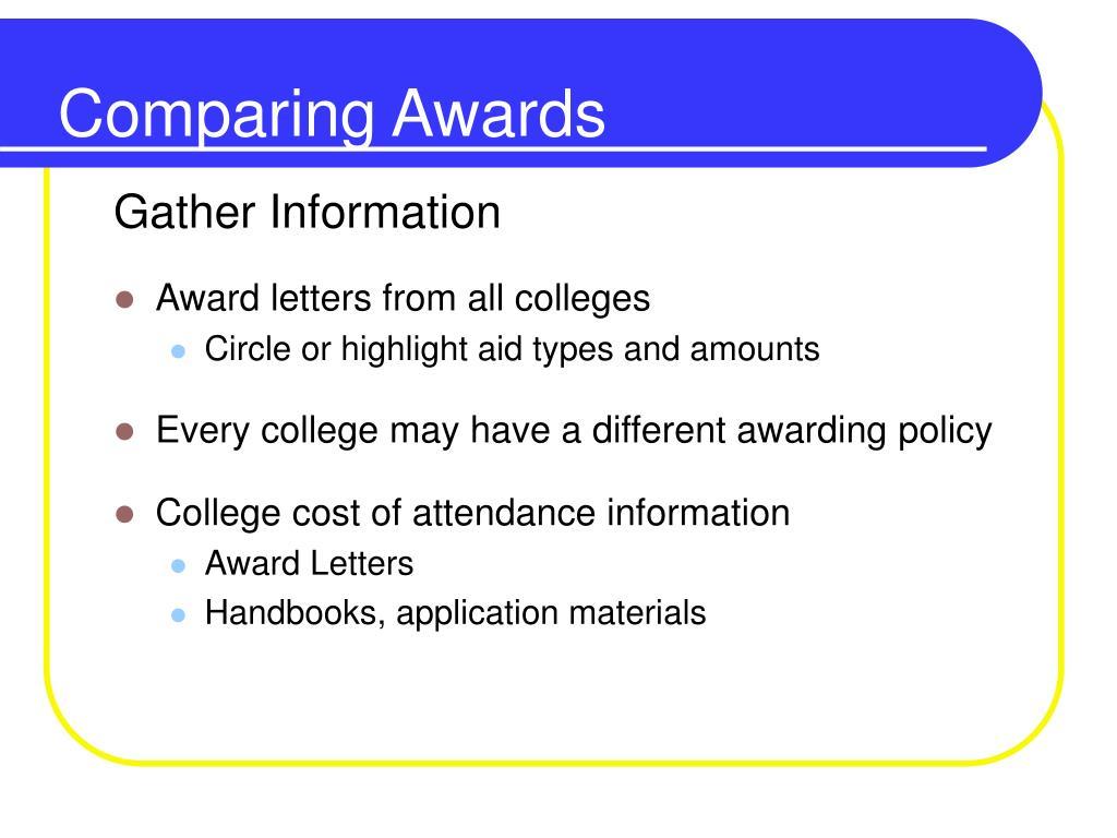 Comparing Awards