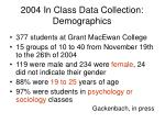 2004 in class data collection demographics
