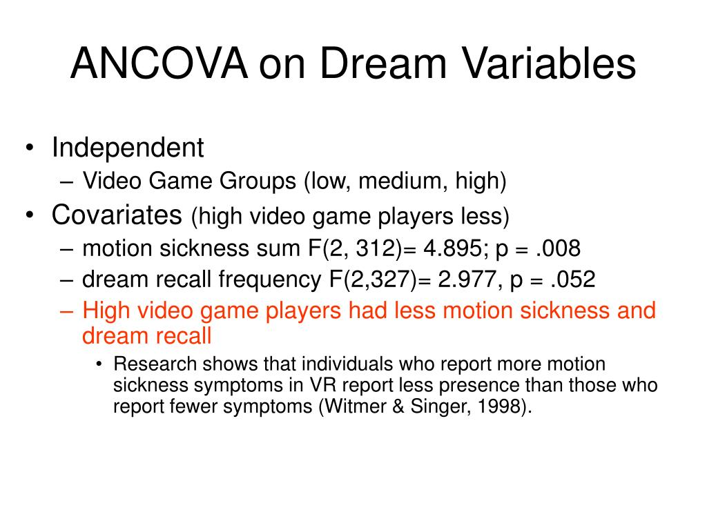 ANCOVA on Dream Variables