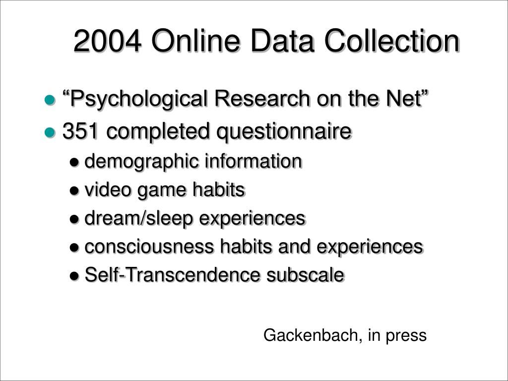 2004 Online Data Collection