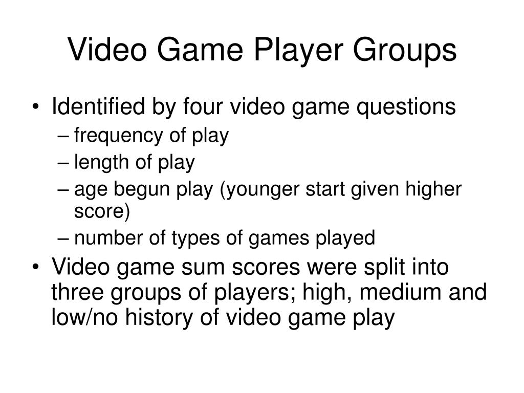 Video Game Player Groups