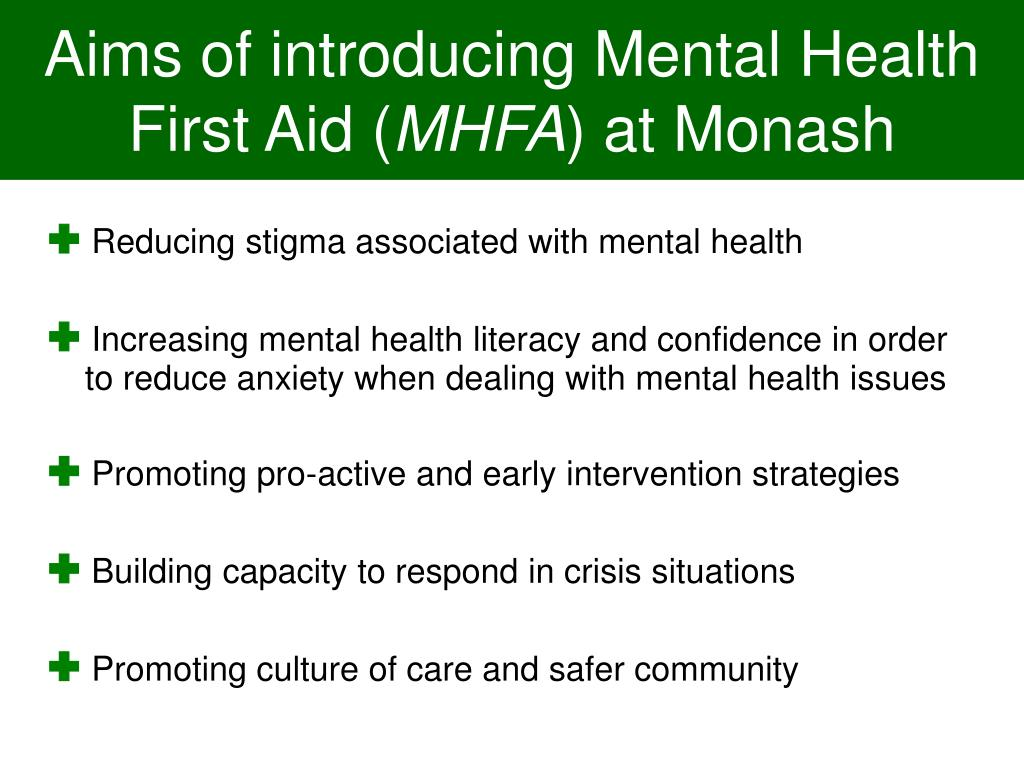 Aims of introducing Mental Health First Aid (