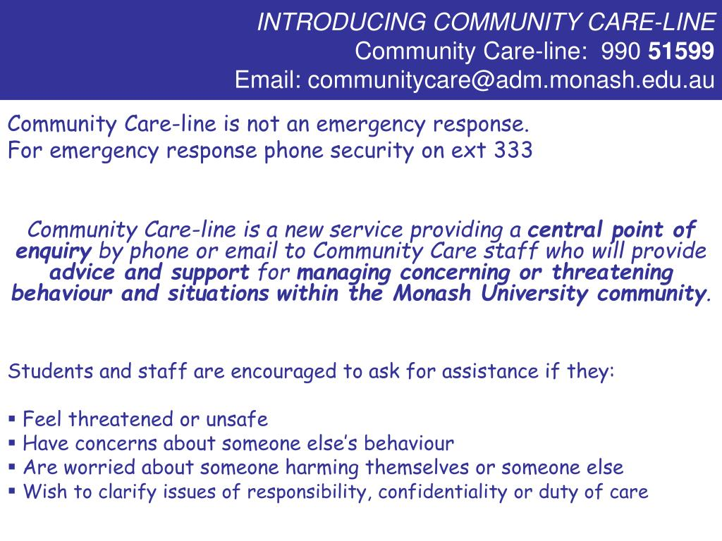 INTRODUCING COMMUNITY CARE-LINE
