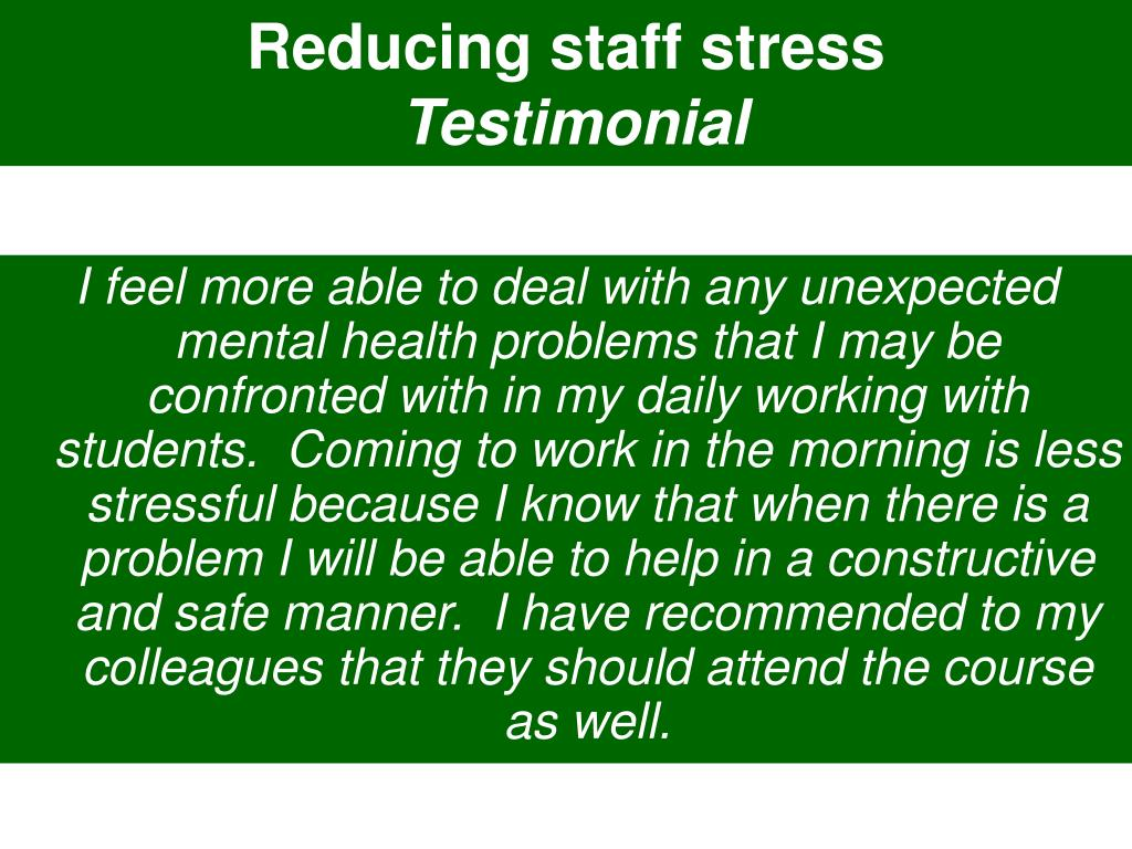 Reducing staff stress