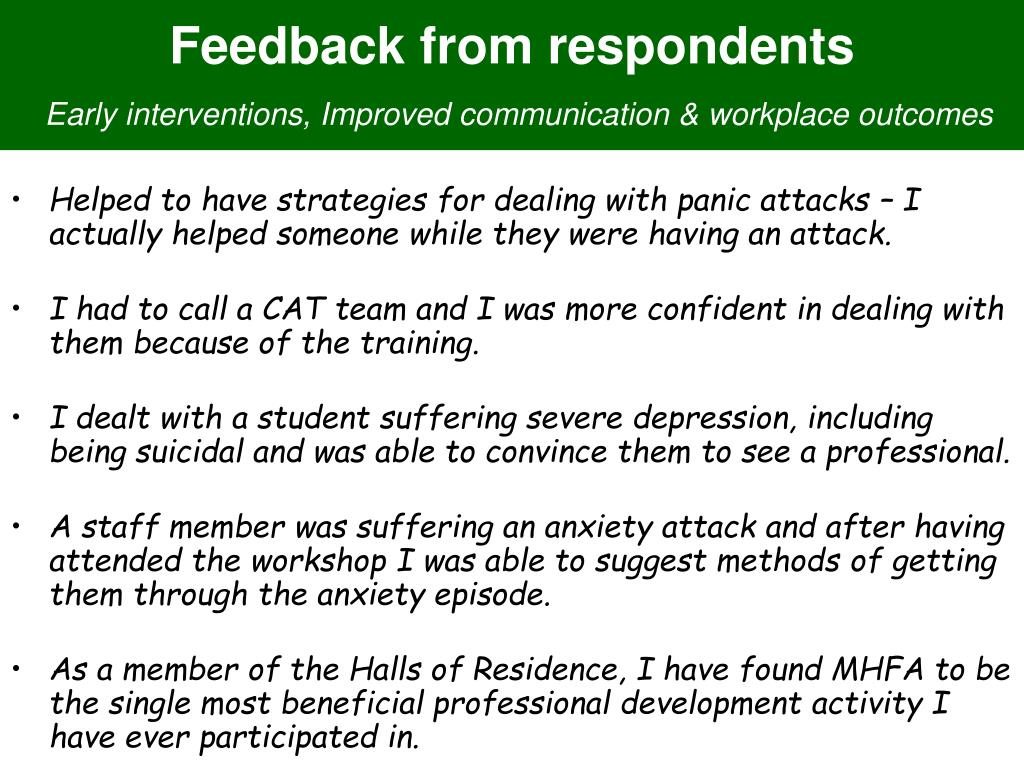 Feedback from respondents