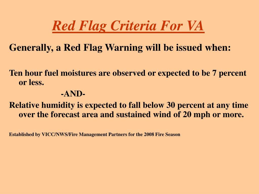 Red Flag Criteria For VA