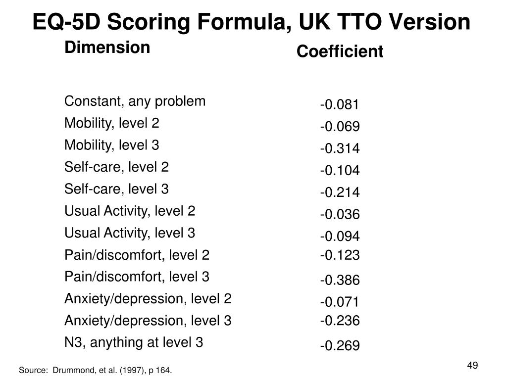 EQ-5D Scoring Formula, UK TTO Version