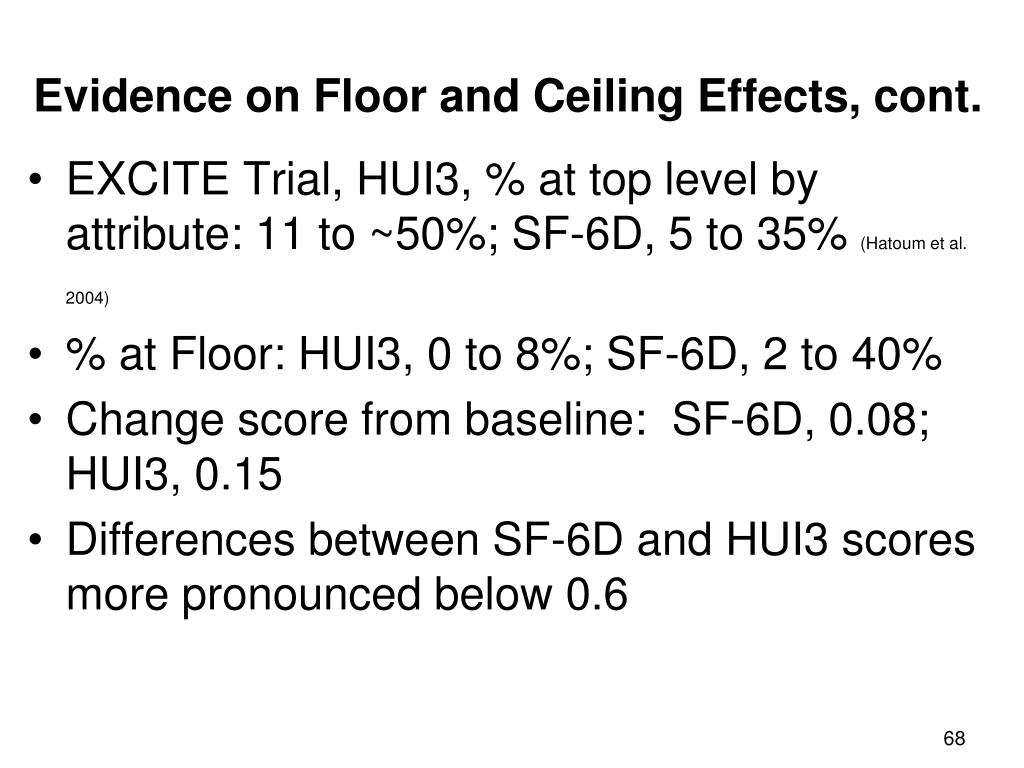 Evidence on Floor and Ceiling Effects, cont.