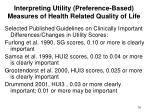 interpreting utility preference based measures of health related quality of life