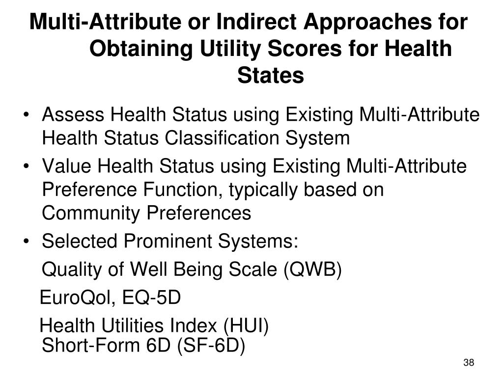 Multi-Attribute or Indirect Approaches for Obtaining Utility Scores for Health States