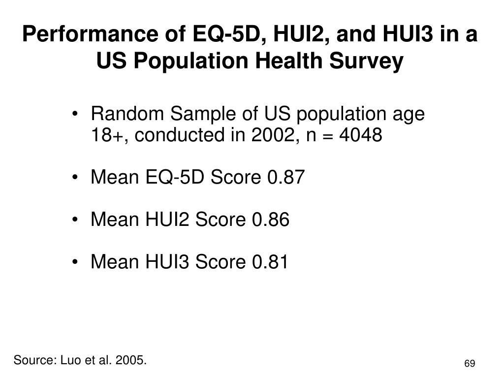 Performance of EQ-5D, HUI2, and HUI3 in a US Population Health Survey