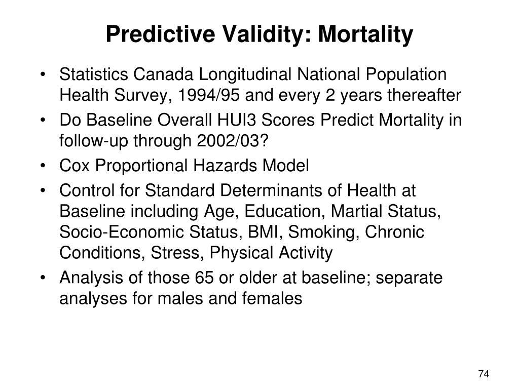 Predictive Validity: Mortality