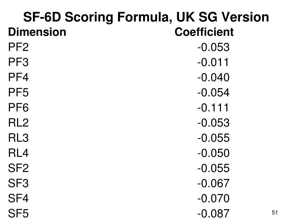 SF-6D Scoring Formula, UK SG Version