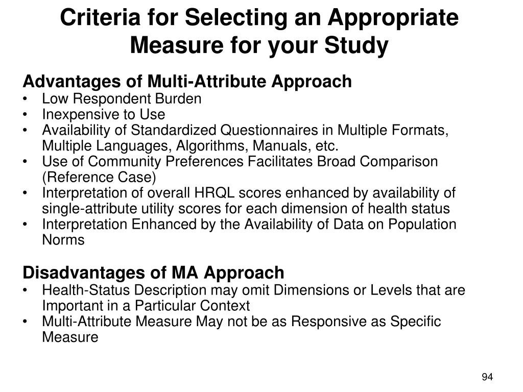 Criteria for Selecting an Appropriate Measure for your Study