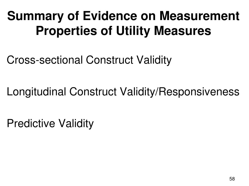 Summary of Evidence on Measurement Properties of Utility Measures