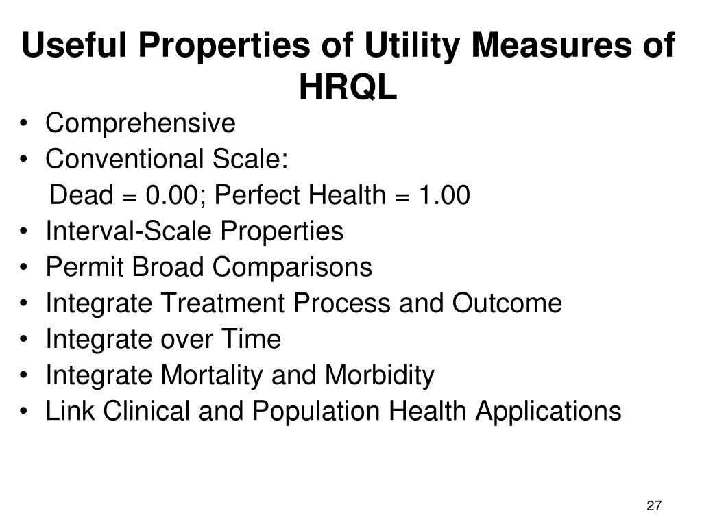 Useful Properties of Utility Measures of HRQL