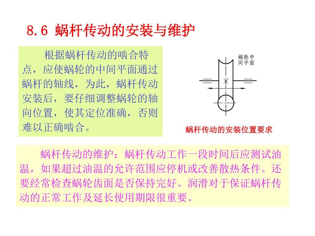 根据蜗杆传动的啮合特点,应使蜗轮的中间平面通过蜗杆的轴线,为此,蜗杆传动安装后,要仔细调整蜗轮的轴向位置,使其定位准确,否则难以正确啮合。