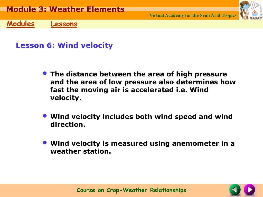 Lesson 6: Wind velocity