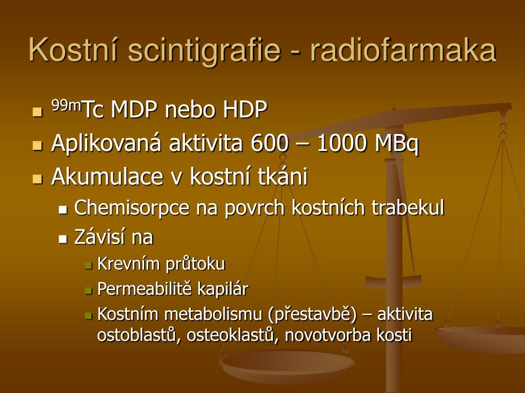 Kostní scintigrafie - radiofarmaka