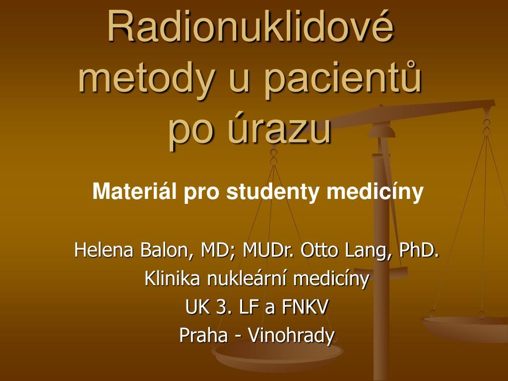 Radionuklidové metody u pacientů