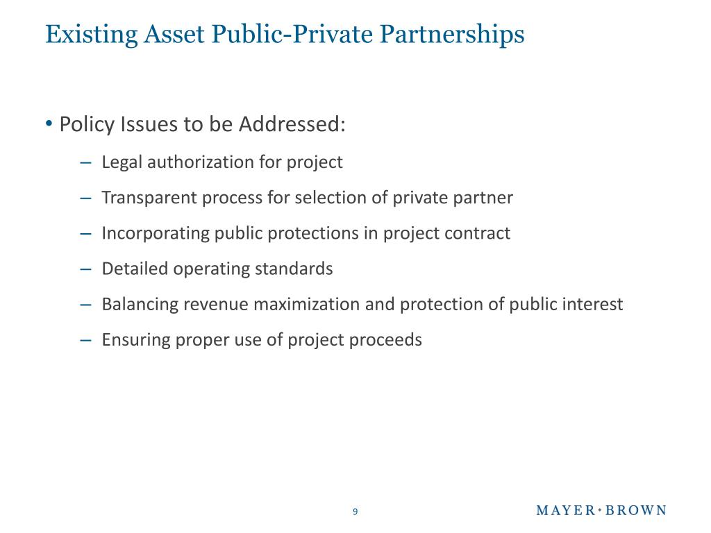 Existing Asset Public-Private Partnerships