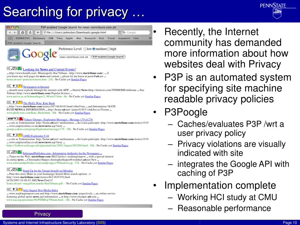 Searching for privacy …