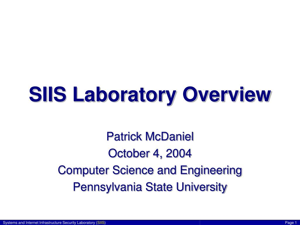 SIIS Laboratory Overview