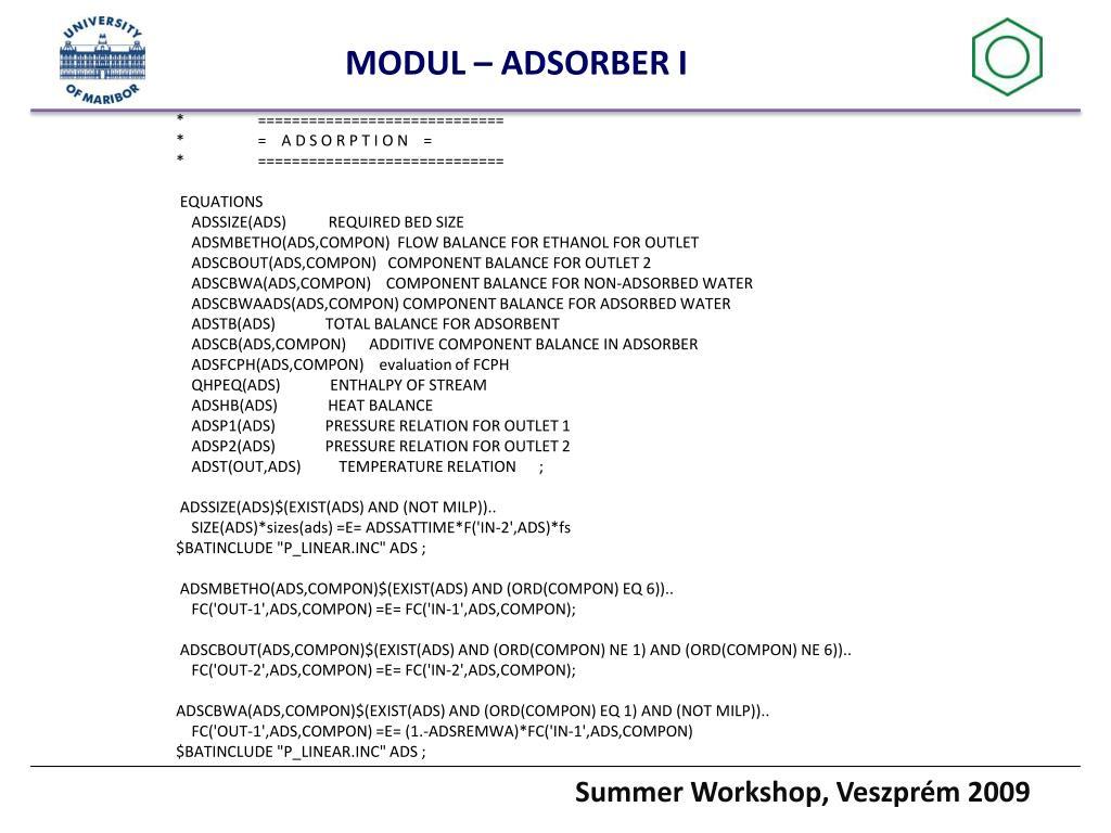 MODUL – ADSORBER I