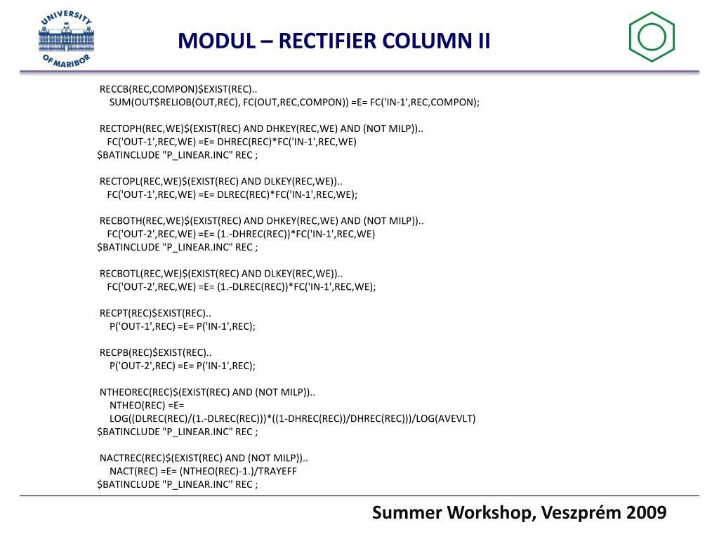 MODUL – RECTIFIER COLUMN II