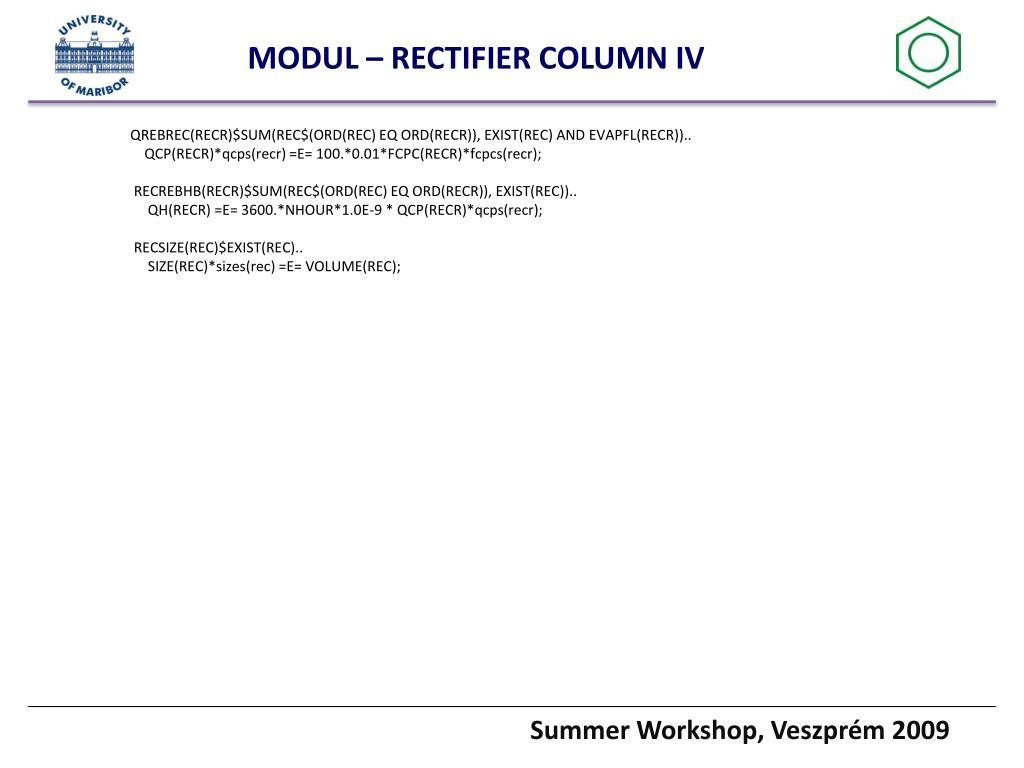 MODUL – RECTIFIER COLUMN IV
