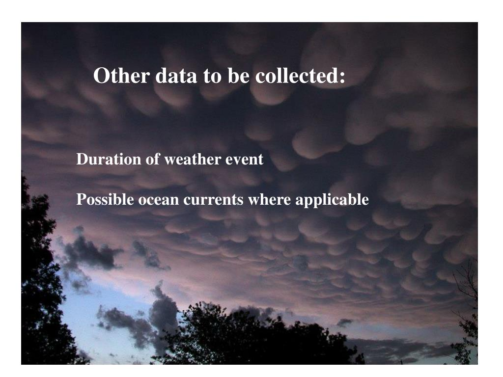 Other data to be collected: