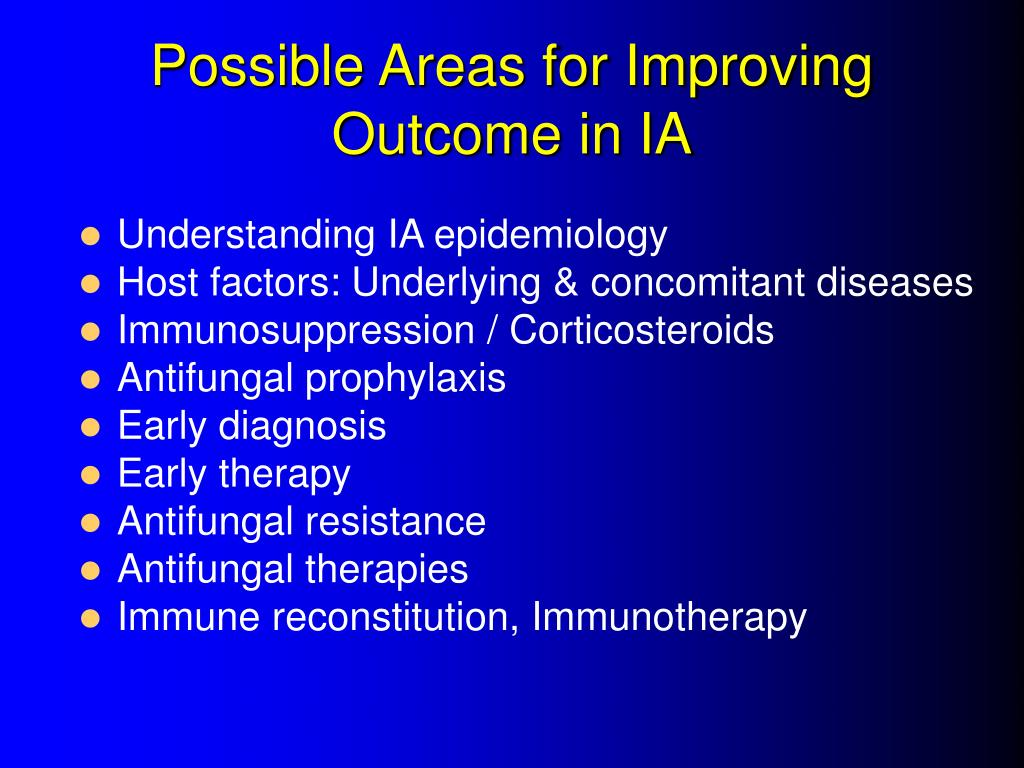 Possible Areas for Improving Outcome in IA